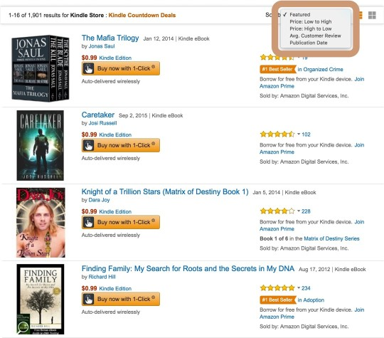 Kindle Countdown Deals - entire list of titles