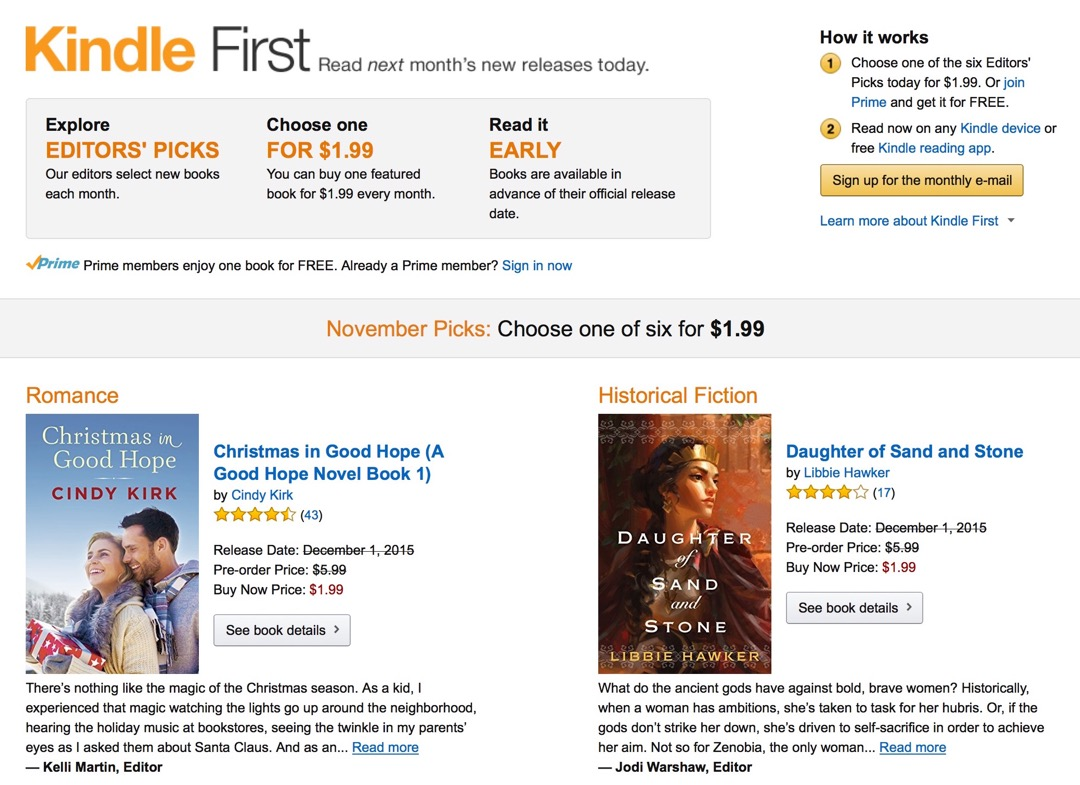 Kindle First - each month pick up one book before its official release date