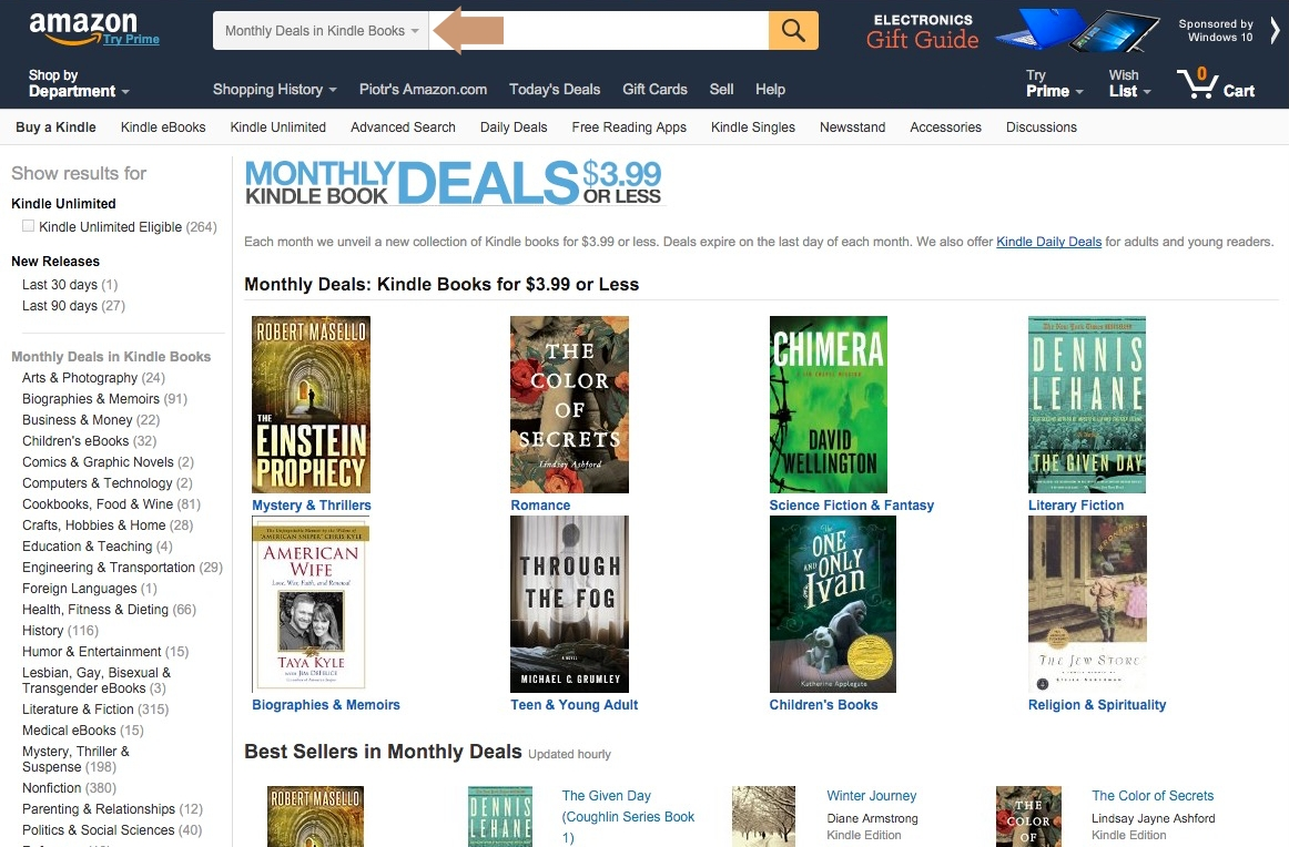 Monthly Kindle Deals 3.99 or less - searching for books