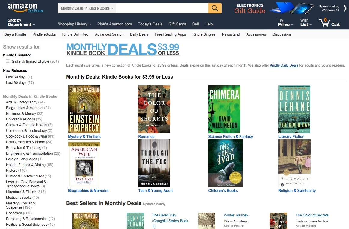 Monthly Kindle Deals 3.99 or less