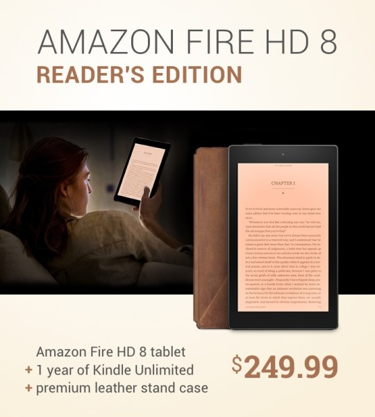 Amazon Reader's Edition bundle – Fire HD 8, Kindle Unlimited