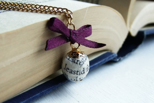 Book Page Bead Necklace
