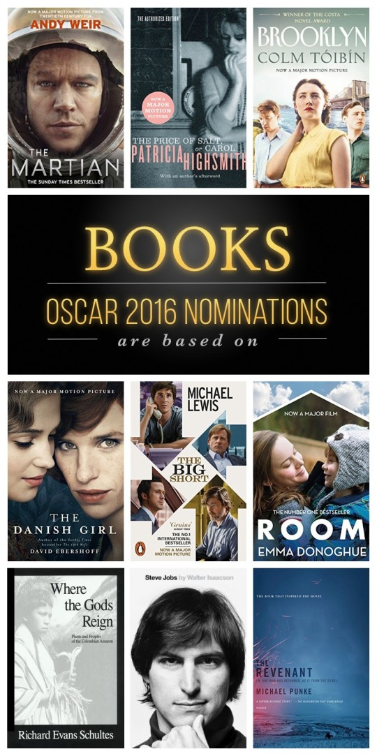 Books Oscar 2016 nominations are based on