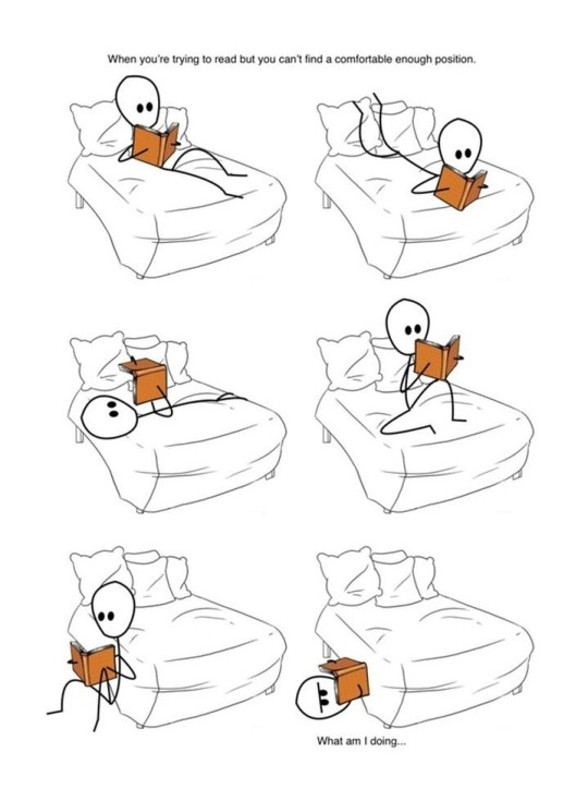 Comfortable positions to read