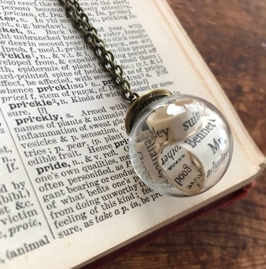 Valentine's Day gift ideas for her: Jane Austen Literary Bubble Necklace