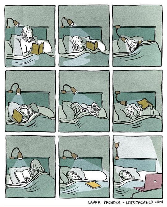 Reading Positions in Bed cartoon