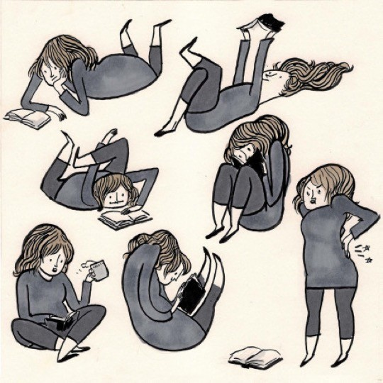 Reading positions by Kate Beaton
