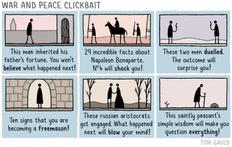 War and Peace Clickbait - cartoon by Tom Gauld
