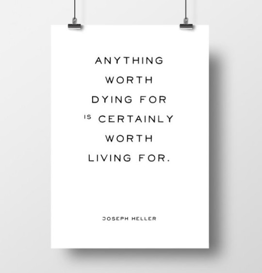 Anything worth dying for is certainly worth living for. - Joseph Heller