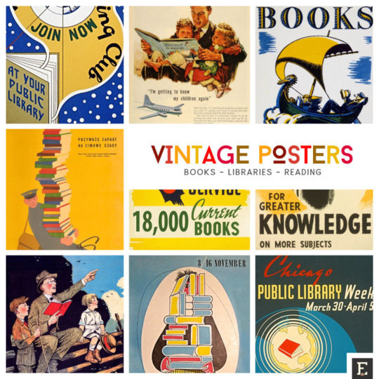 Best vintage book and library posters that encourage to read