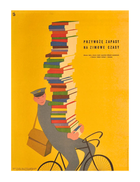 Polish poster from 1955 - Book supplies for winter
