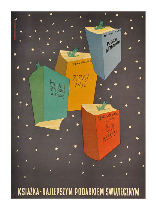 Polish book poster from 1955: Books for Christmas