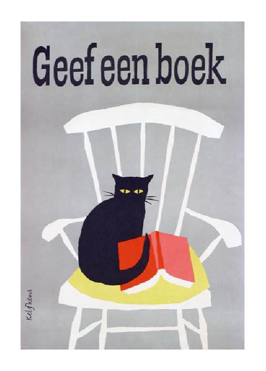 Geef een boek - give a book - a vintage Dutch book poster
