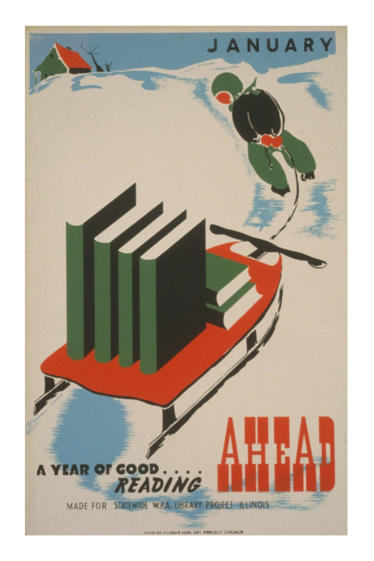 Retro book posters: January. A year of good reading ahead