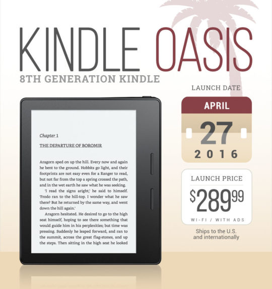Kindle Oasis - launch details