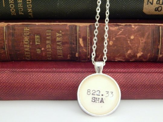 Shakespeare Dewey Decimal Number Necklace