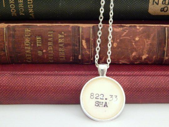 Shakespeare Dewey Decimal Number Necklace