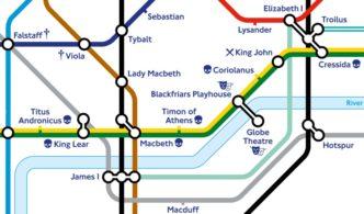 Shakespeare's London Underground Map - close up