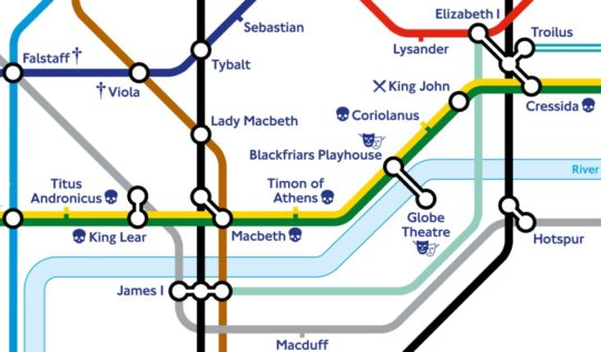 Shakespeare's London Underground Map - close up
