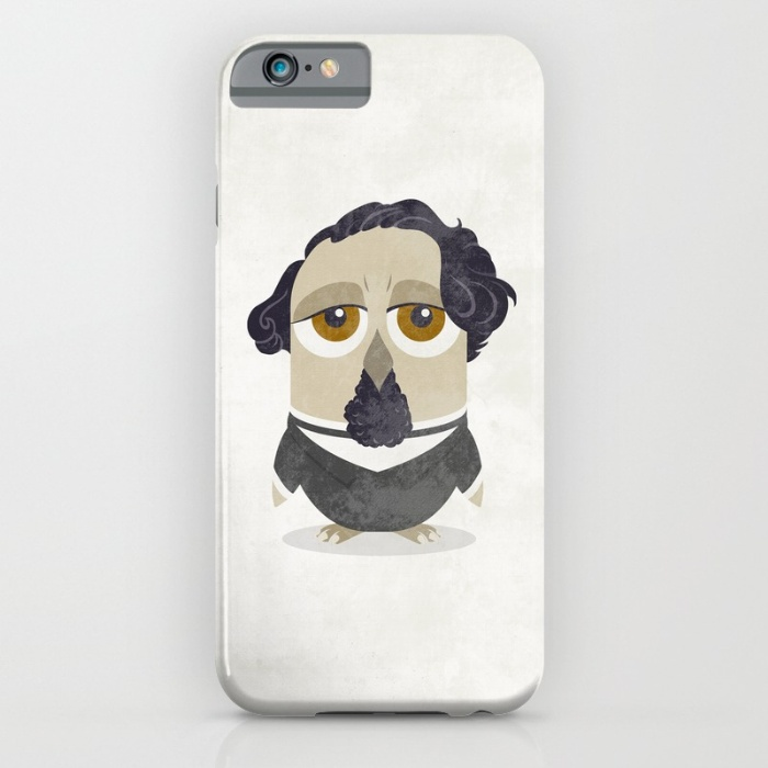 Great authors as owls - Charles Dickens iPhone case