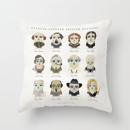 Great authors as owls - throw pillow