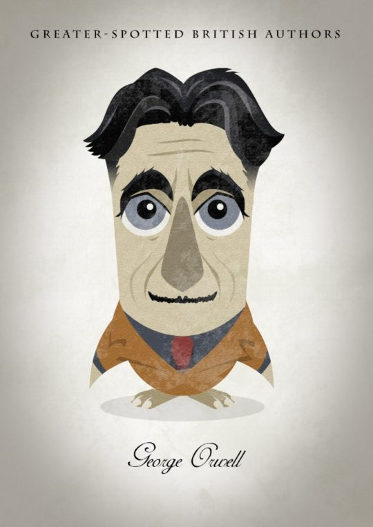 Great authors presented as owls - George Orwell