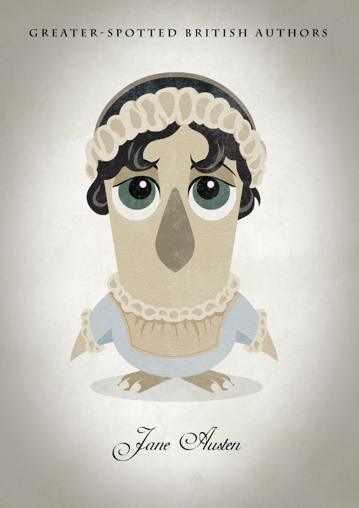 Great authors presented as owls - Jane Austen