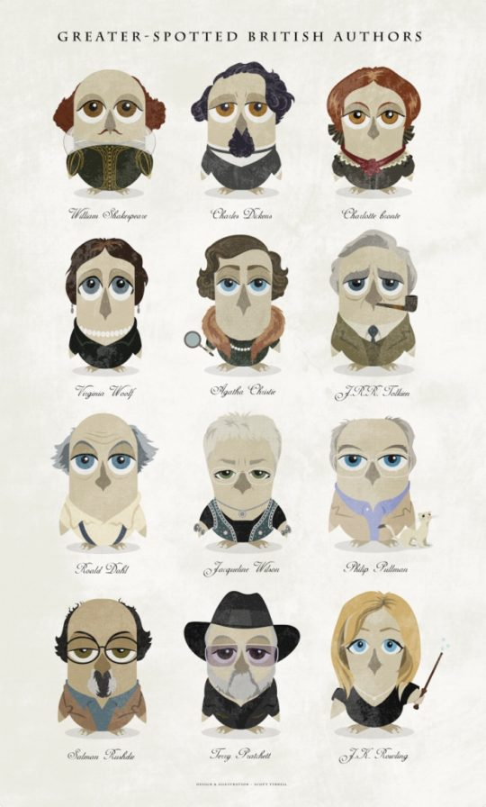 Great authors presented as owls - a collage poster
