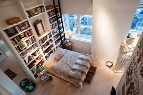 Eclectic bedroom and library