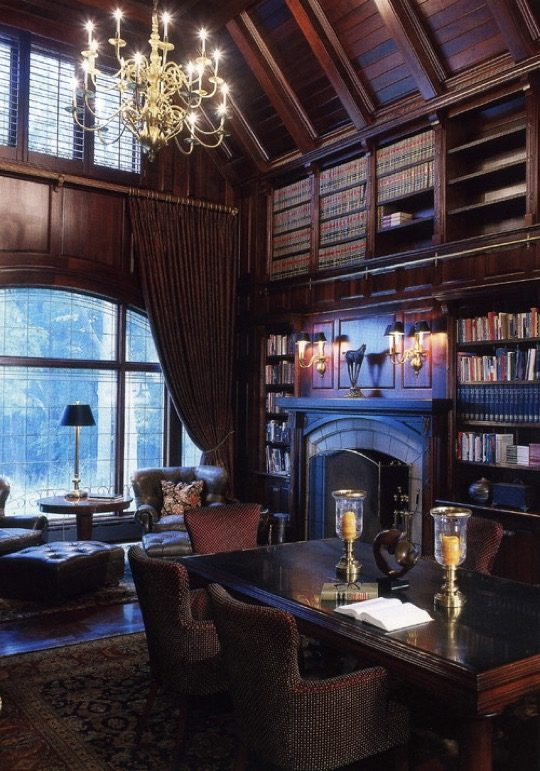 Old shaped family room and library