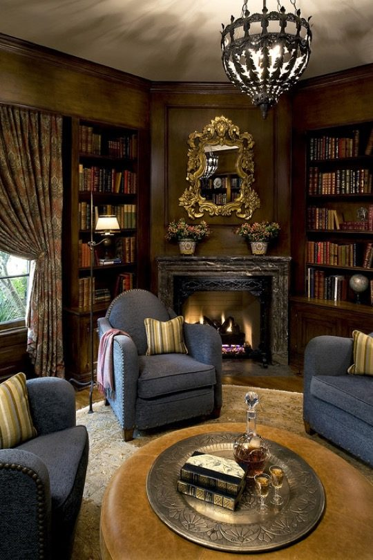 Victorian family room and library