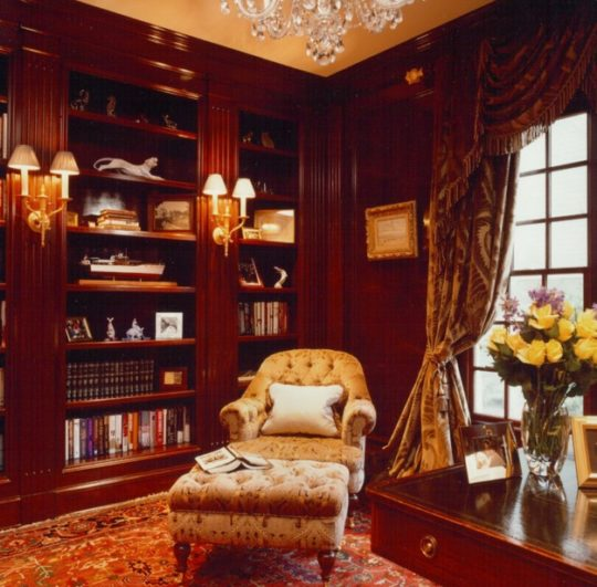 Traditional home office and library