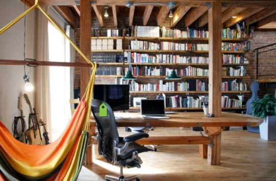 Industrial home library and study room
