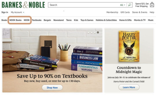 Finding Nook Store homepage in Barnes and Noble online store