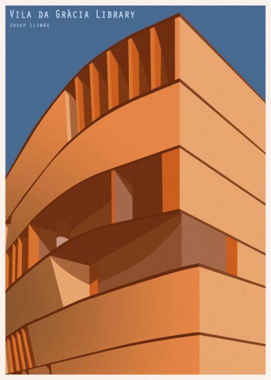 Minimalist library posters - Vila de Gracia Library