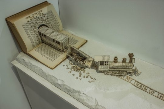Book sculptures by Thomas Wightman - Train 1