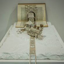 Book sculptures by Thomas Wightman - Train 2