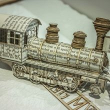 Book sculptures by Thomas Wightman - Train 3