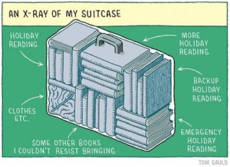 Holiday suitcase of a book lover - a cartoon by Tom Gauld