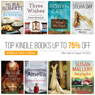Kindle Daily Deal, 14 August 2016 - top Kindle books up to 75% off