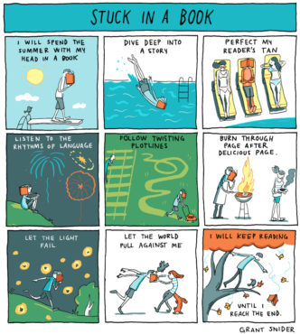 Stuck in a book - a cartoon by Grant Snider