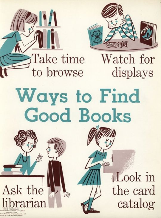 Vintage library posters - Ways to Find Good Books