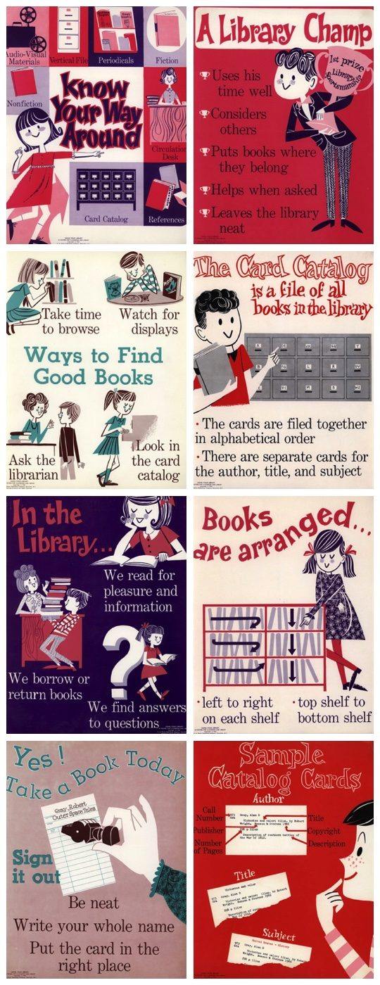 Vintage library posters from 1965 designed by Cynthia Amrine
