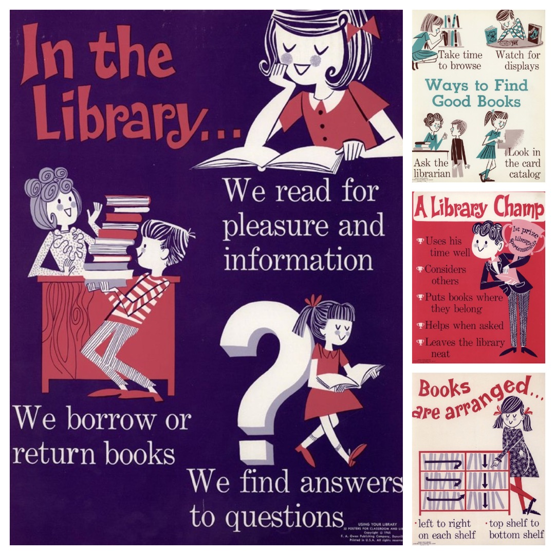 Wonderful vintage library posters by Cynthia Amrine