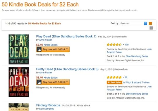 50 Kindle Book Deals for $2 Each - landing page