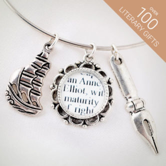 Jane Austen bookish bracelet from C.S. Literary Jewelry