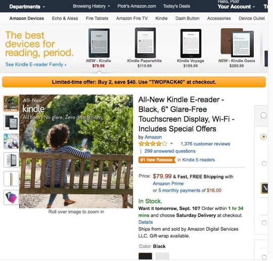 A deal for Kindle 8 (2016): buy two devices and save $40