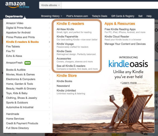 A section with Kindle e readers is available from Amazon home page