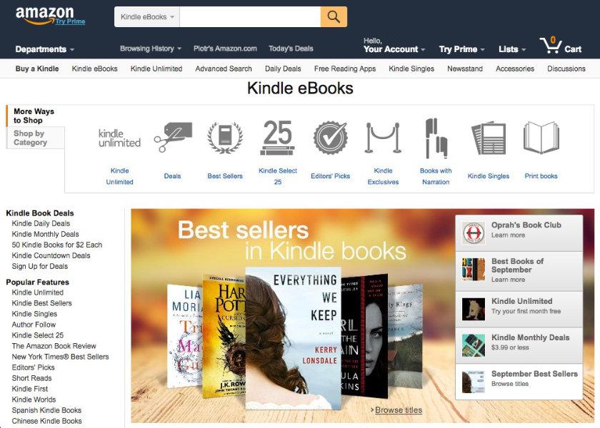 Amazon Kindle Store – homepage