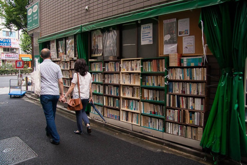 Book towns: Jinbōchō - In front of a second hand bookshop